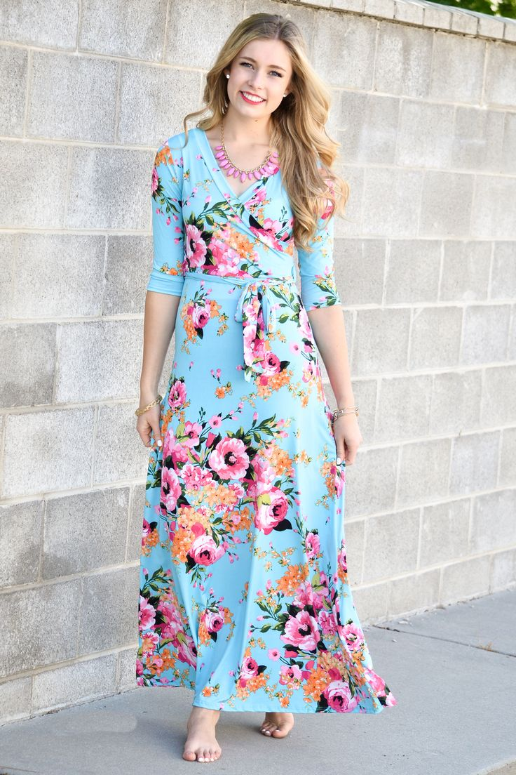 Turquoise Floral Maxi Dress - My Sisters Closet