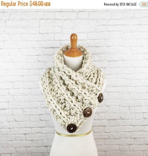 WINTER SALE Blanket Scarf Knit Button Scarf by OliveandArrowKnits