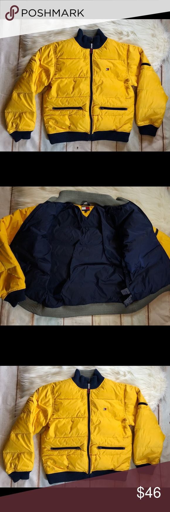 """Tommy Hilfiger Yellow & Navy Goose Down Jacket Tommy Hilfiger Yellow & Navy Blue Goose Down Jacket.                                                                              **2 Front Zippered Pockets.                                    **Small Left Arm Zippered Pocket.                                ** Size Large. Chest: 42"""" Length: 23"""" Sleeve Length: 23"""" Shoulder To Shoulder: 34"""".                         ** This Jacket Is Non Gender Specific. Men Or Women Welcome 🙂 Tommy Hilfiger…"""