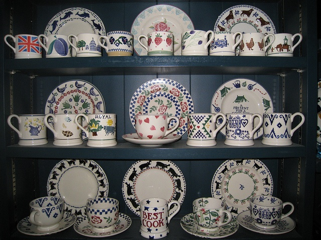 Dresser with Emma Bridgewater pottery - lovely selection of cups on lower shelf!