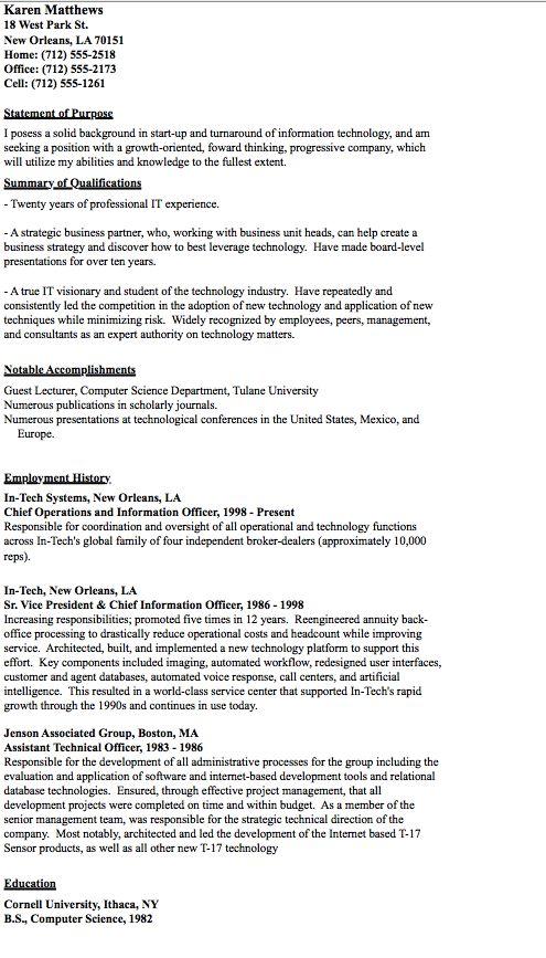 sample of cio resume