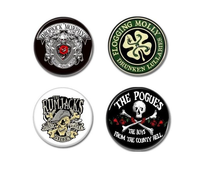 Irish Punk badges, buttons (dropkick murphys, flogging molly, rumjacks, pogues).   #rumjacks #pogues #floggingmolly #dropkickmurphys #irishpunk #irishbuttons #irishbadges #irishpins #punkbuttons #punkbadges #punkpatches