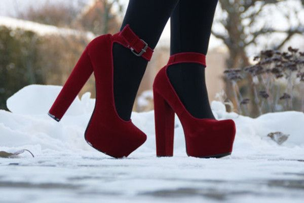 Shoes: red velvet high heels mary jane tights deep red winter snow fall cute pretty platform heels Like this.