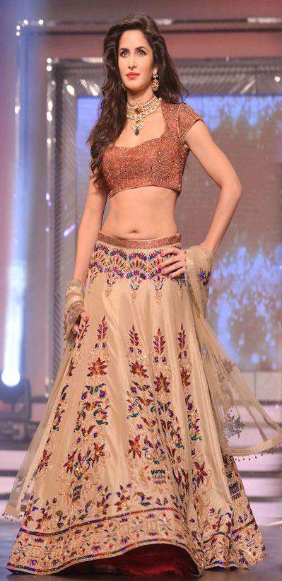 USD 255.24 Katrina Kaif Sizzles The Ramp in Designer Lehenga Choli 27977