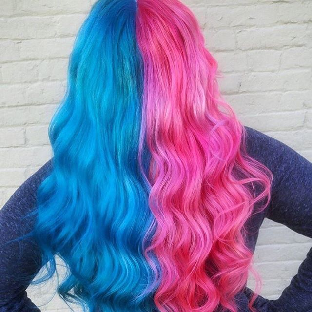 Bubblegum Ice Cream Was Our Favorite Flavor Cant Decide Pinkhair Or Bluehair Why Not Both Jessys Split Dyed Hair Hair Inspo Color Pretty Hair Color