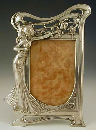 WMF Polished Pewter Photo Frame with Art Nouveau Maiden.....Just so precious. Would love to own this one. B.