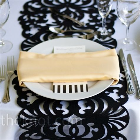 digging the cutout table runner....black on white....but white on black might work too
