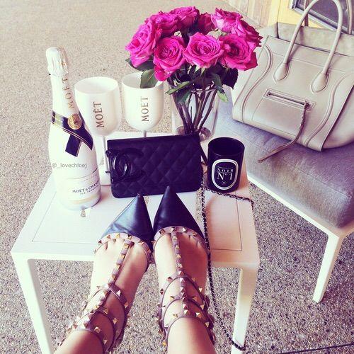 Image via We Heart It #chanel #heels #roses #shoes #Valentino #moet