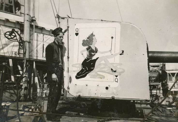 1942. HMCS Wetaskiwin. The Queen on ship's gunshield. HMCS Wetaskiwin was a Flower-class corvette of the Royal Canadian Navy that served during the Second World War.