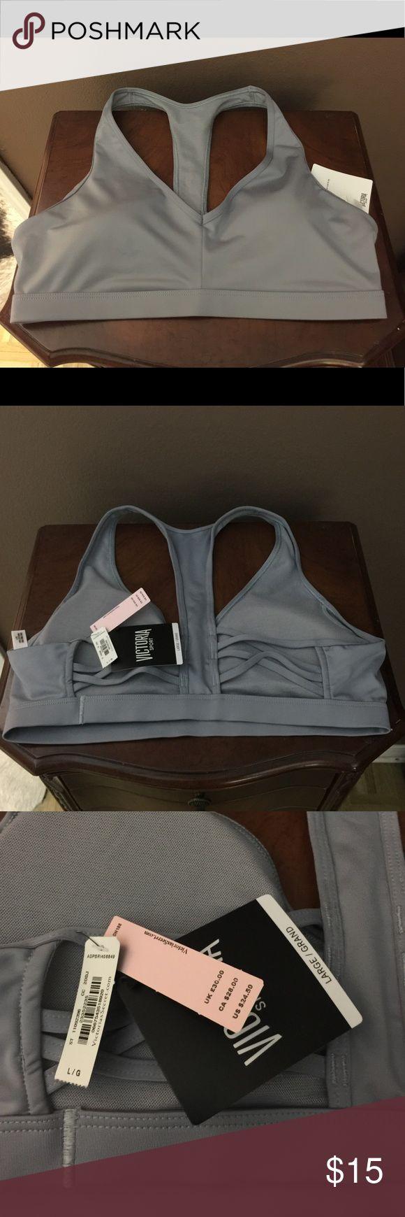 Victoria's Secret sports bra Silver sports bra. Racerback. Brand new. Size large. Removable padding. Victoria's Secret Intimates & Sleepwear Bras