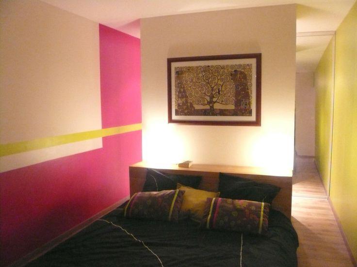 Chambre adulte / Noir, rose et vert anis | Décoration d\'intérieur ...