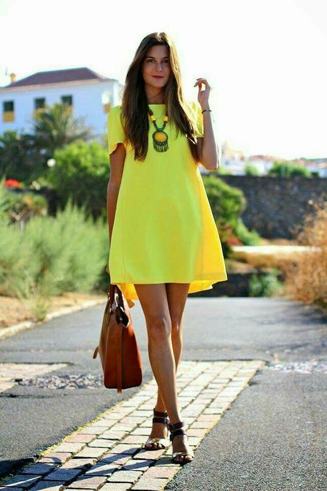 Yellow short dress, short sleve, black sandals, brown purse