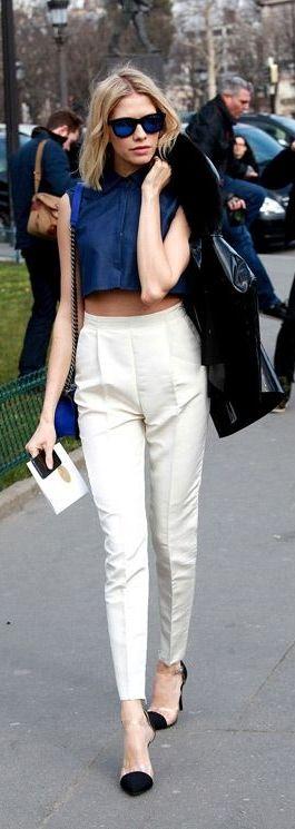 White cigarette pants make a bold street style splash.