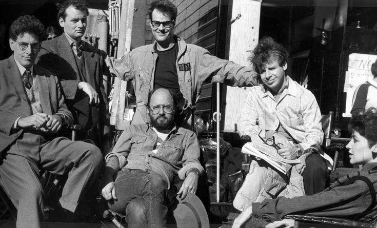 Harold Ramis, Bill Murray, Dan Aykroyd, Joe Medjuck, Rick Moranis and Annie Potts on the set of Ghostbusters.