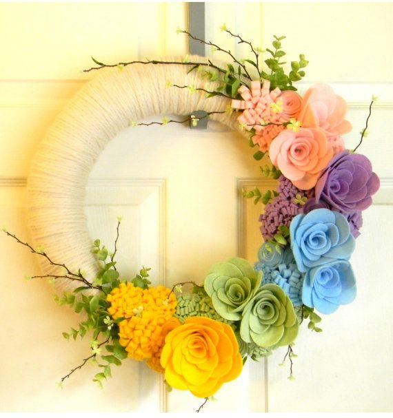 Think Spring Large 16 inch Felt and Yarn by EllaBellaMaeDesigns, $62.00
