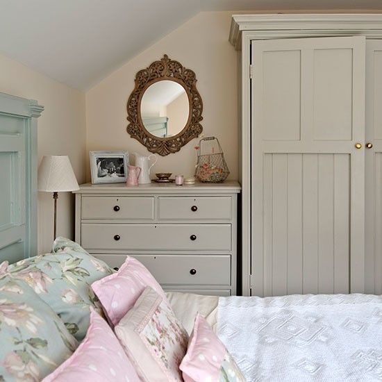Country Bedroom With Painted Storage