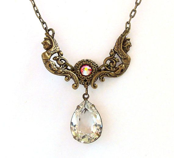 Vintage Brass Necklace w Swarovski Crystal Jewel by Aranwen, €40.00