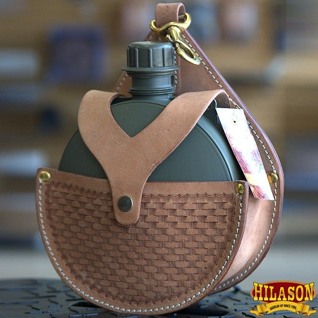 HILASON WESTERN LEATHER HORSE SADDLE 2 QUART CANTEEN HOLDER HOLSTER BAG WITH BOTTLE TAN