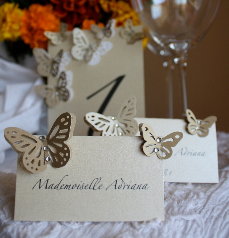 Pearl Table Numbers Card Table Tag with Butterflies and Crystals. $5.50, via Etsy.