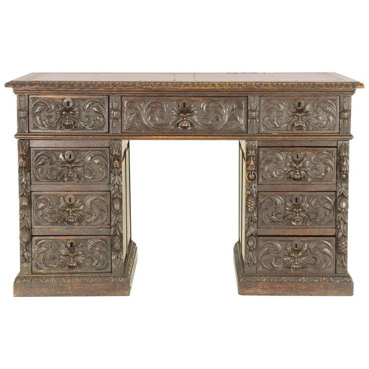 Antique Scottish Victorian Heavily Carved Oak Desk, Double Pedestal Desk | 1stdibs.com