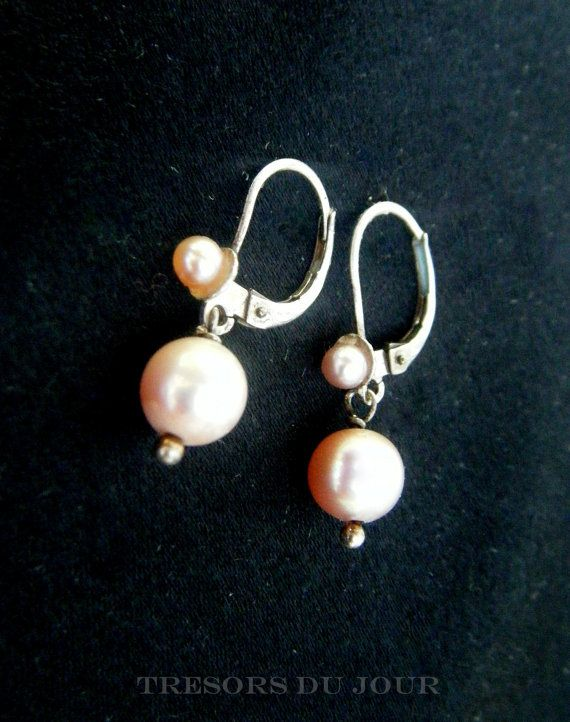 Vintage EDWARDIAN style Silver and Genuine Pink Cultured Pearl Drop Earrings with French lever backs by TresorsDuJour  #PinkPearlEarrings #PearlDropEarrings