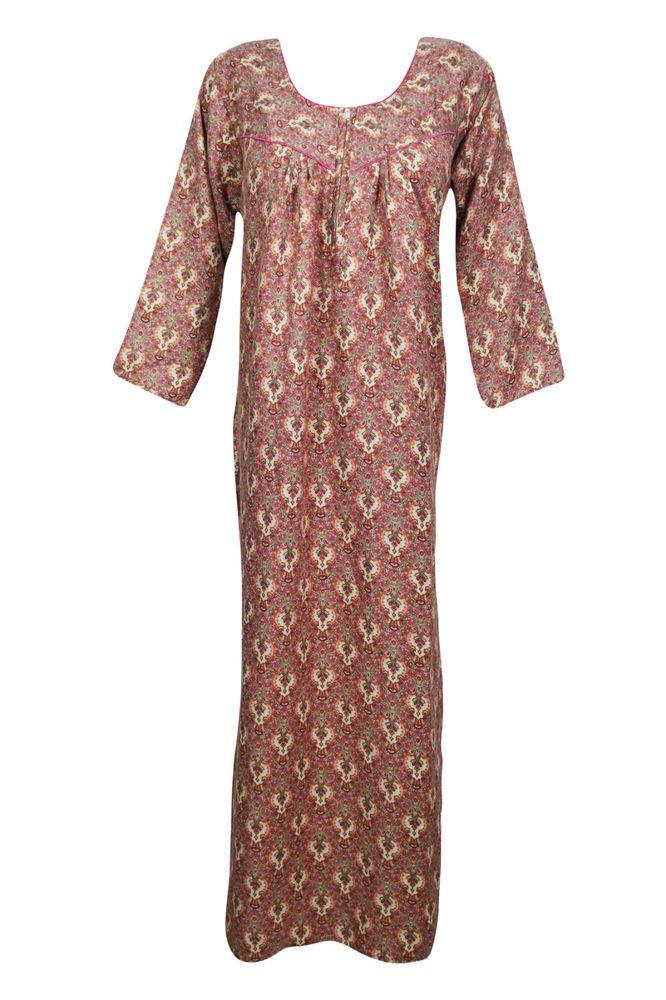 f34eea2f8 Womens Caftan Maxi Dress Printed 3 4 Sleeve Boho Gypsy Evening Wear  Nightgown L  mogulinterior  MaxiGownAbayaKaftanMaxiDress  Casual