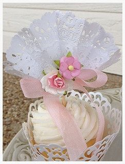 Pretty Fan Cupcake Toppers  and Wrappers for Birthday by JeanKnee, $12.00
