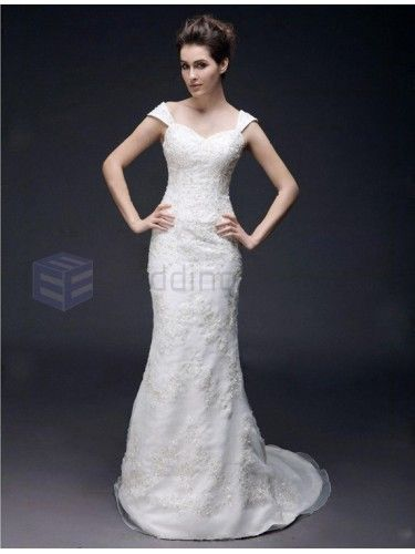 Princess Trumpet Mermaid Sweetheart Satin Organza Court Train Wedding Dress