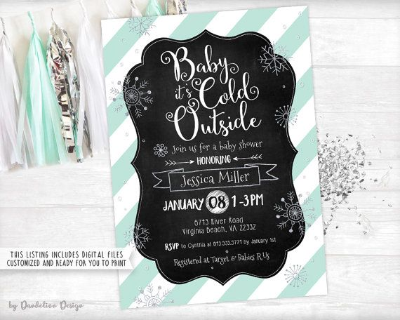 This listing is for a 5x7 digital Baby its Cold Outside Baby Shower Invitation plus optional 3.5x5 Diaper Raffle Ticket, Book Request Card, and Thank You Card personalized with your custom text. You will receive a the following emailed to your ETSY email within 48 hours after your information has been received:  1: One high-resolution JPEG digital file for each item (This file type works best if you plan to upload to an online photo printing website)  2: One high-resolution JPEG with two 5x7…