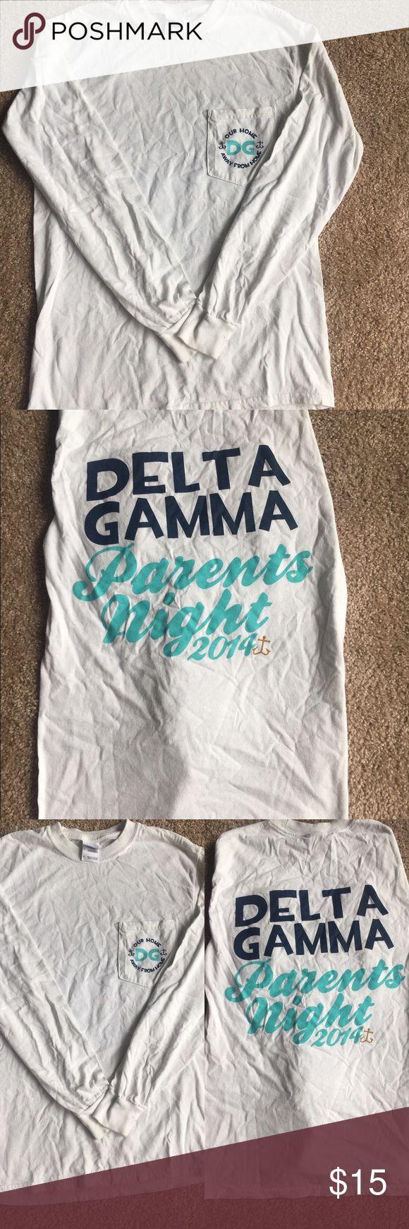 Delta Gamma (DG) parents weekend long sleeve shirt White long sleeve DG parents weekend shirt. Barely worn. Tops Tees - Long Sleeve