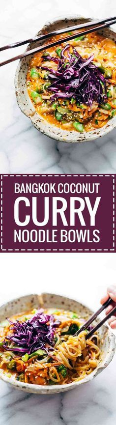 Bangkok Coconut Curry Noodle Bowls - a 30-minute healthy, easy recipe loaded with coconut curry flavor. Vegetarian + easily made vegan! ♡ | http://pinchofyum.com