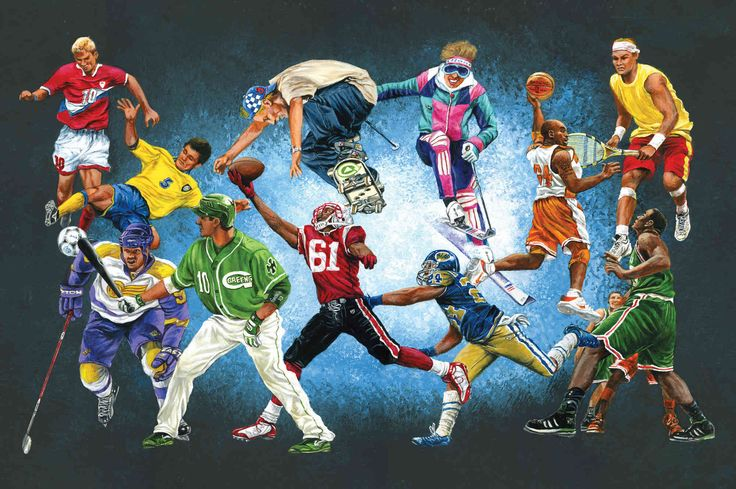 """The Sports Themed Room. Mural """"Sports Unlimited"""". A Wallpaper Mural by Muralunique.com. This is an original painting from Tony Floreani."""