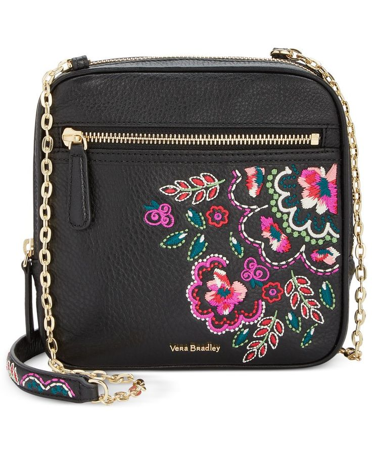 "Vibrant embroidery adds signature whimsy to a compact Vera Bradley crossbody hung from bright chain-links and secured with a gilded zip. | Leather | Imported | 7""W x 7""H x 1-1/4""D 