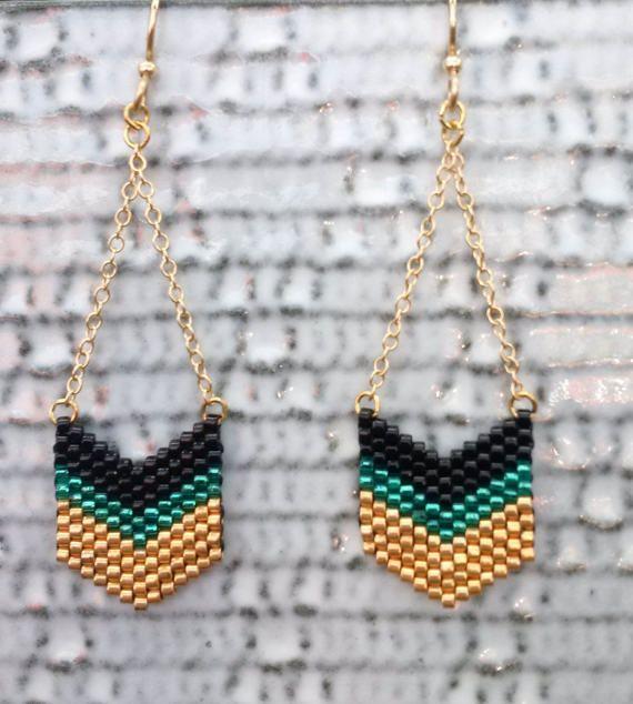 Beaded Earrings Chevron Earrings Gold Filled Chain Gold