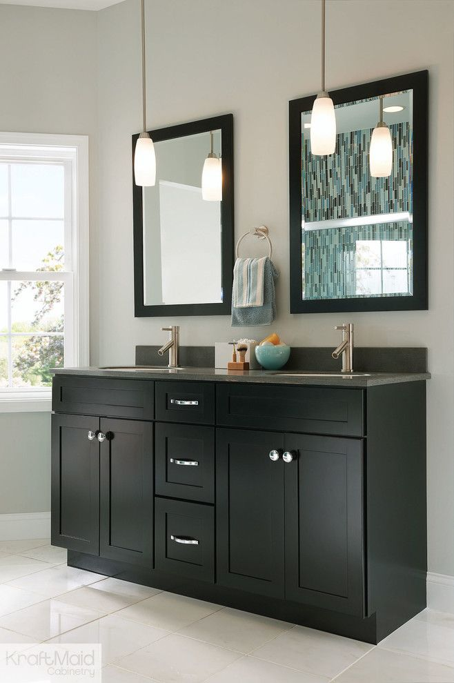 Image Of double sink bathroom vanity Bathroom Contemporary with bathroom black vanity bathroom