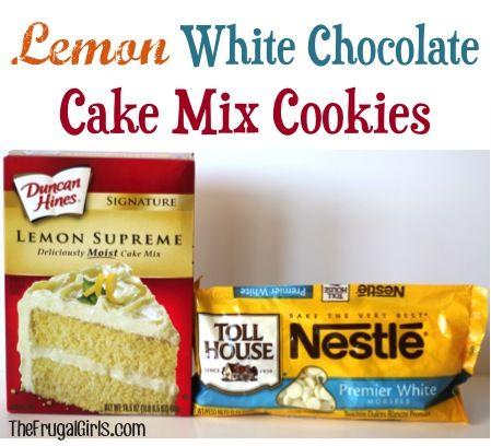 Lemon White Chocolate Cake Mix Cookies Recipe at TheFrugalGirls.com