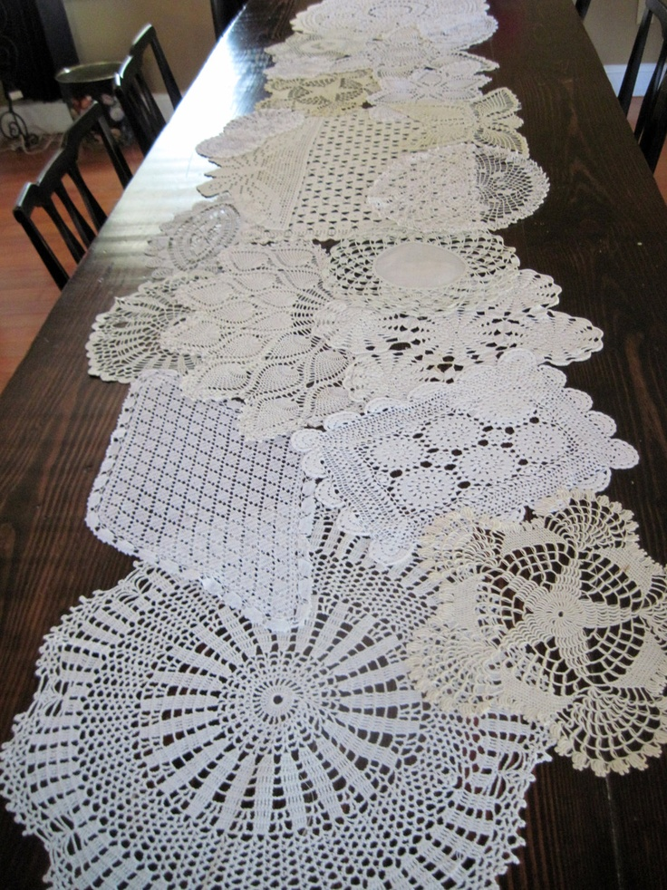 table Doily runner Table Table  Toppers Vintage Runner Doilies  for Wedding and  Table wedding doily