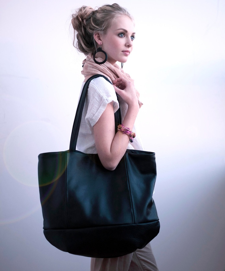 Minimalist leather tote bag - Meridian tote in black pebbled leather. $278.00, via Etsy.