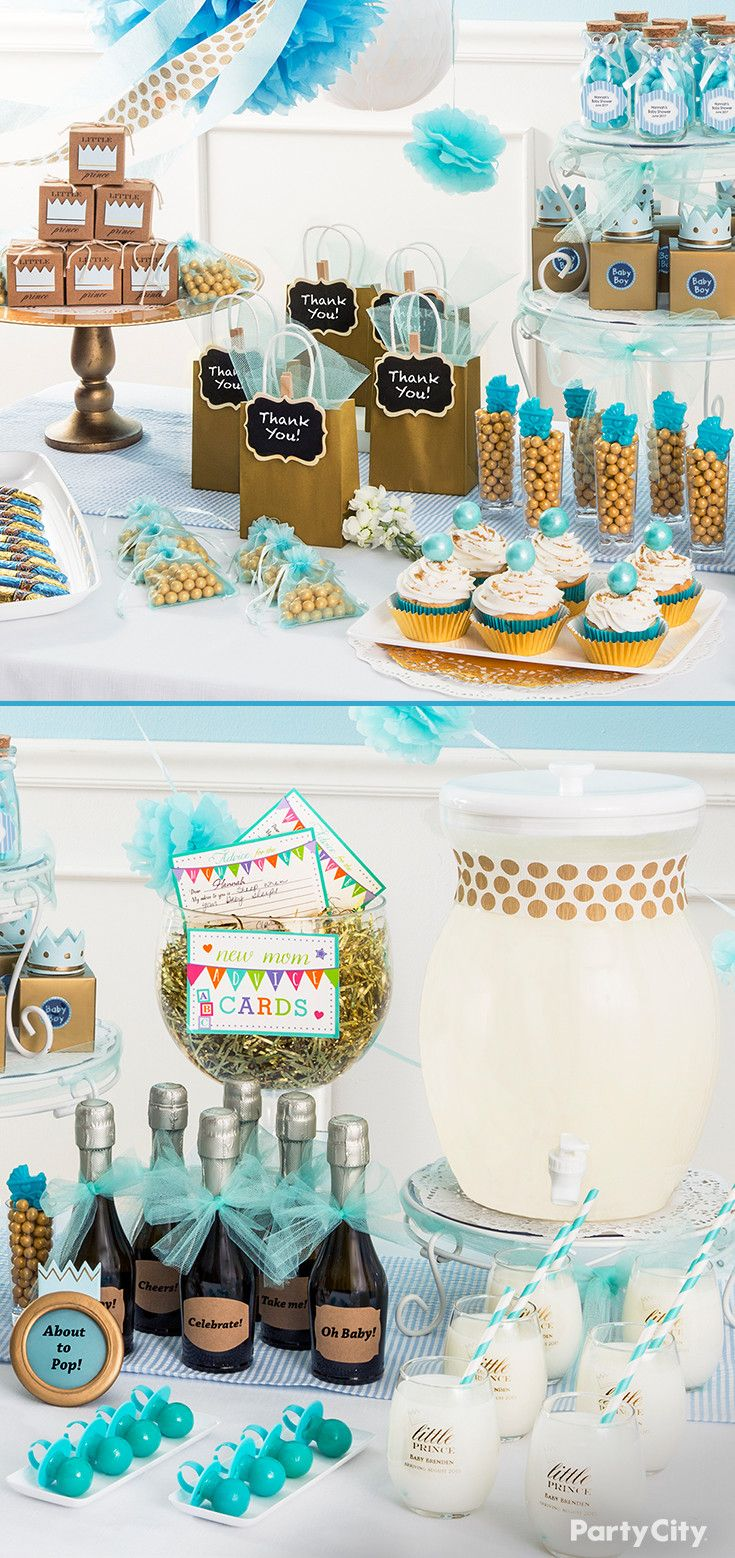 From Party City · Add Regality To Your Little Prince Baby Shower With Gold  And Blue Favors, Treats,