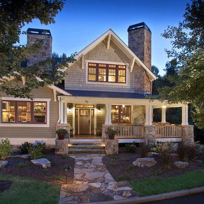 Stone and cedar shake split level design ideas pictures for Cedar shake home designs