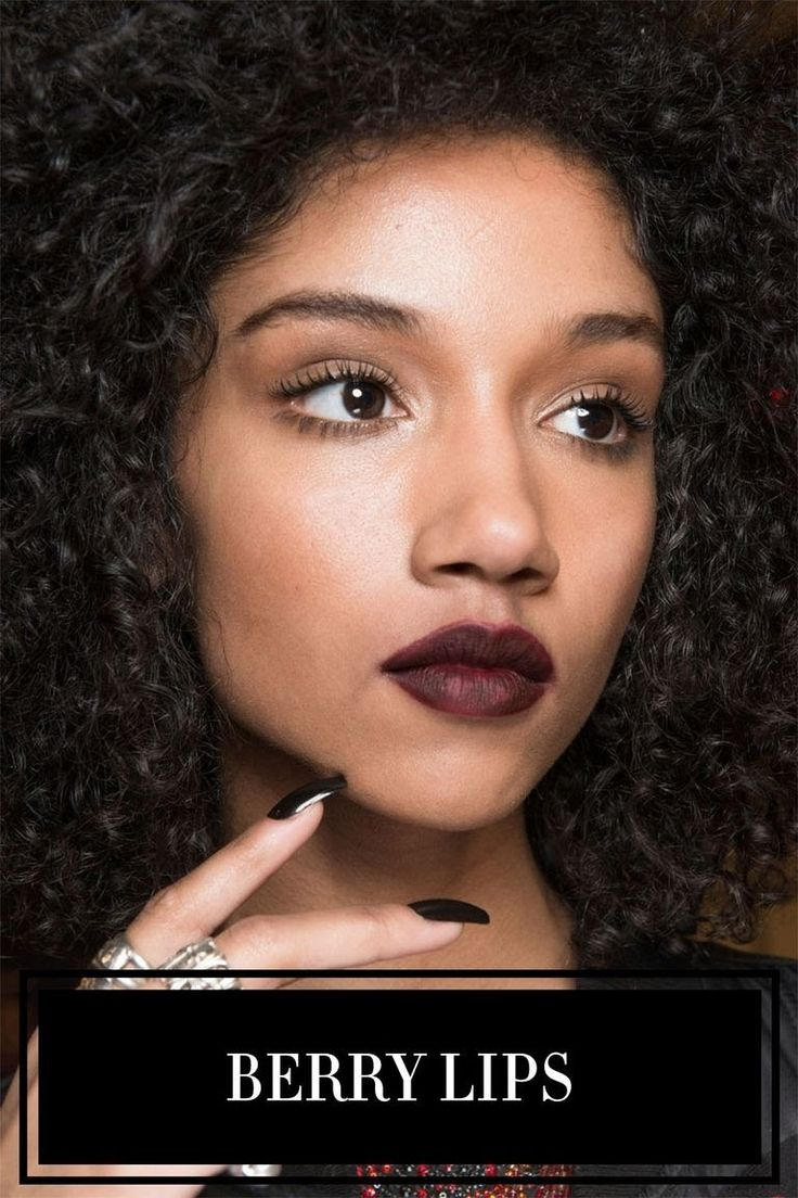 <p>If you're going to wear one lipstick color this fall, make it a deep shade of berry. At dozens of shows this season, models' lips were painted various shades of purple, burgundy, or blackened plum (like at Phillip Plein, left). Pair the look with a heavy dose of black liner, colorful shadow—or no makeup at all.</p>