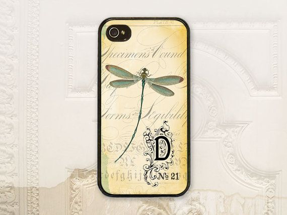 Dragonfly phone case iPhone 4 4s 5 5s Samsung Galaxy S3 S4, Vintage ephemera, Shabby chic, Dragonfly personalized phone case V1128