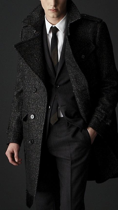 . Wool Tweed Belted Coat @ Burberry
