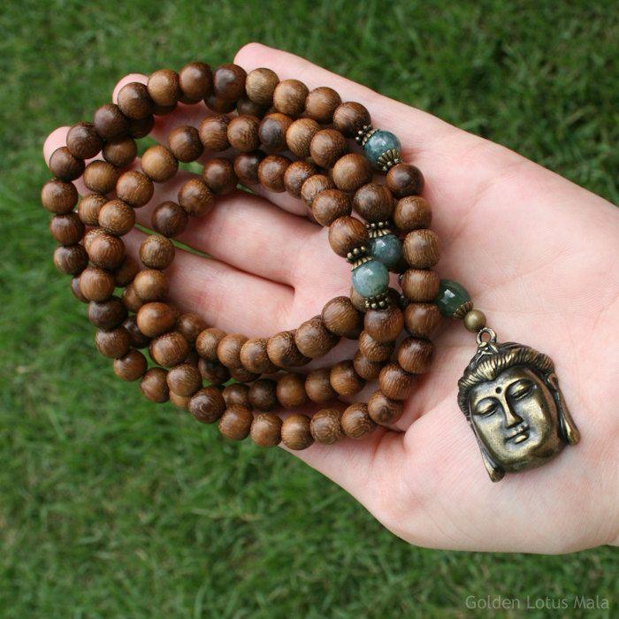 Mala Beads, Buddha Pendant, Buddhist Prayer Beads, Meditation Necklace