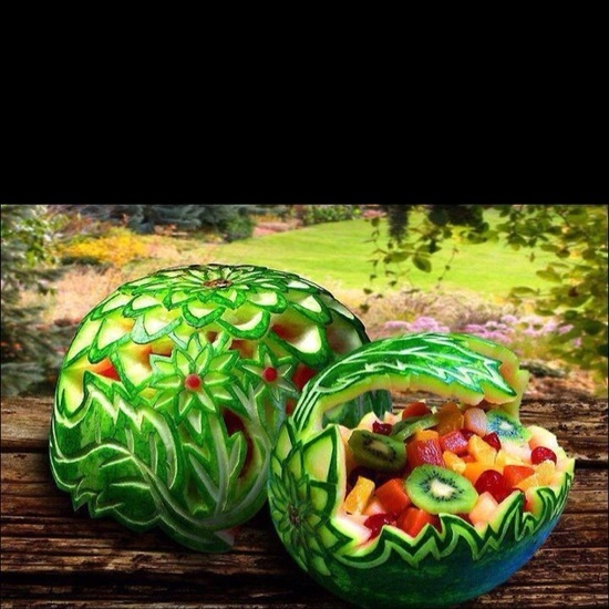 Amazing food art ... #food_art #food art.  Watermelon fruit bowl.