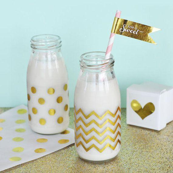 Gold Foil Milk Bottle Labels Chevron Polka Dot Labels by ModParty