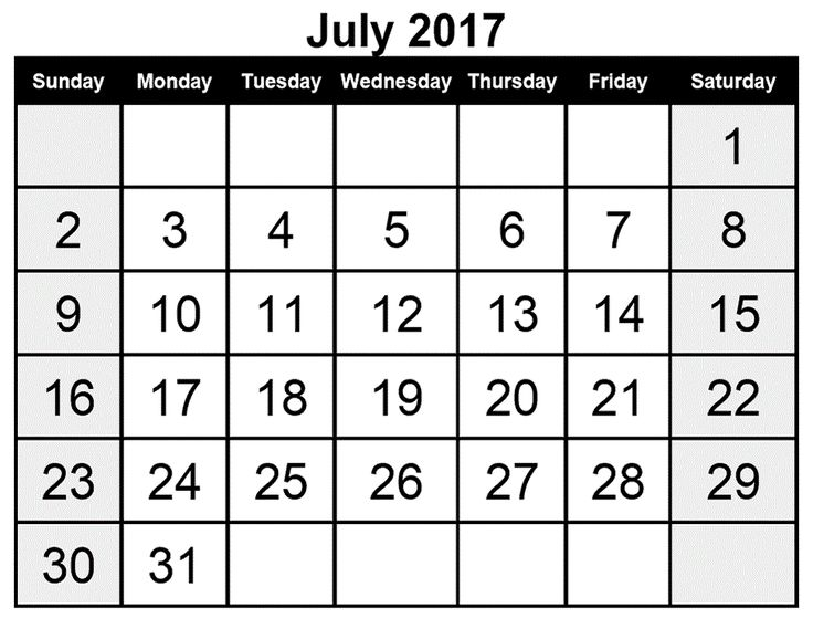 Best July  Calendar Printable Images On