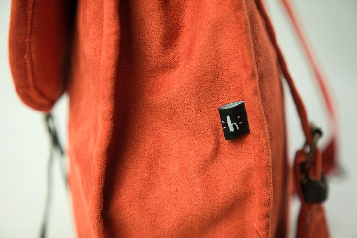 a hand-made orange backpack