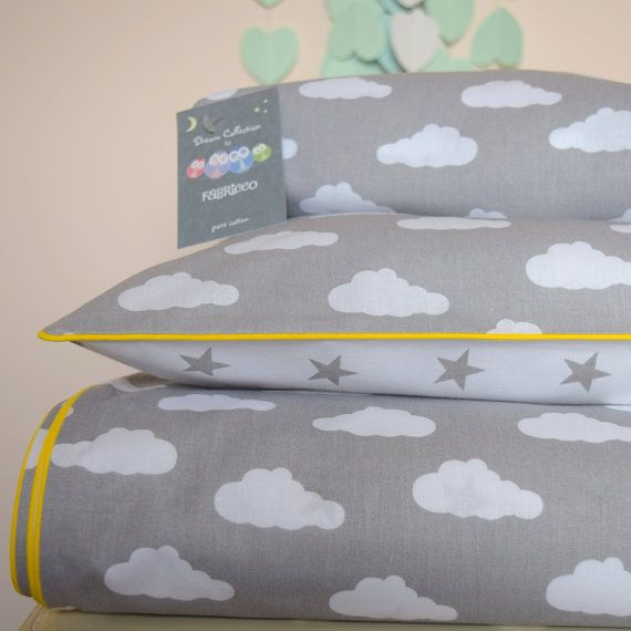 pure COTTON Cot Bed Duvet Cover Set & Fitted Sheet by Fabriccco