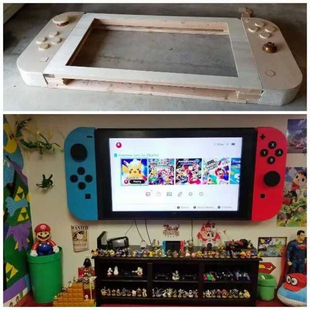 This Nitendo Mounted T V Case Is Sick Game Room Decor Video Game Room Design Game Room Design
